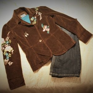 Live a Little Brown Embroidered Blazer